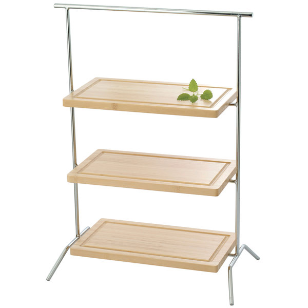 "Clipper Mill by GET IR-607C 3-Tier Chrome Plated Iron Rectangular Riser - 20"" x 12"" x 27"""