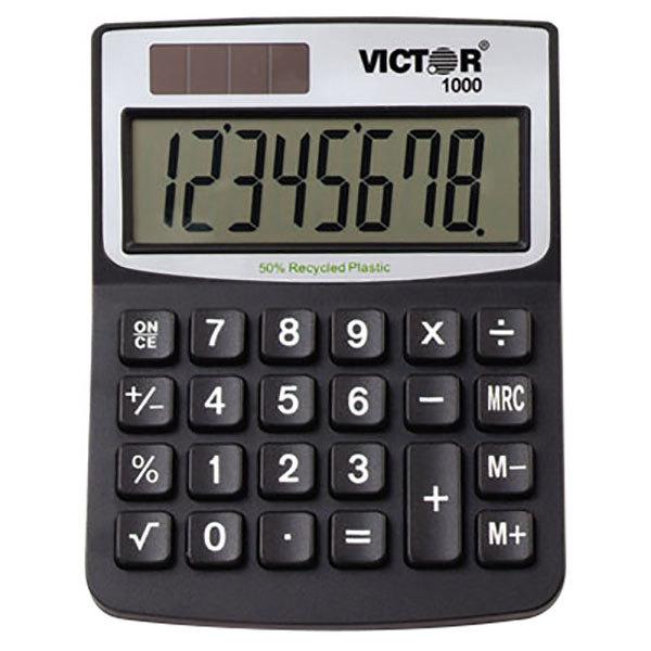 Victor 1000 8-Digit Solar Battery Powered Minidesk Calculator