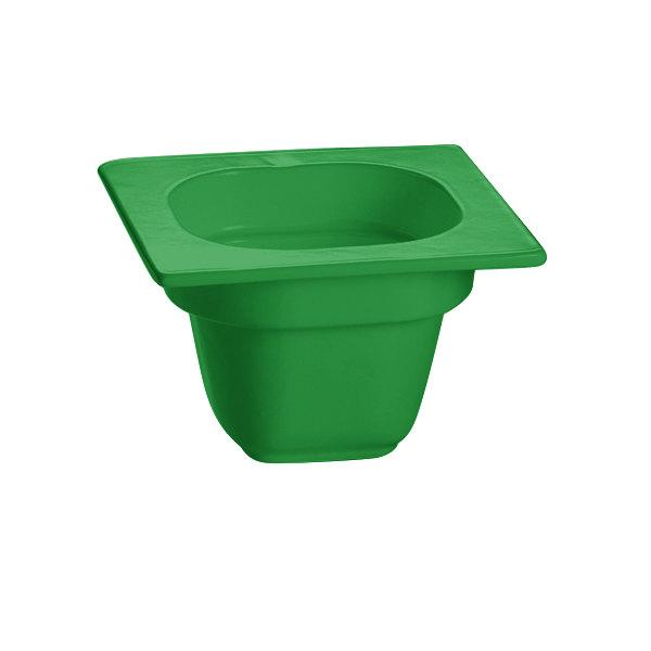 """Tablecraft CW360GN 6 1/8"""" x 6 3/8"""" x 4"""" Green 1/6 Size Deep Cast Aluminum Food Pan"""