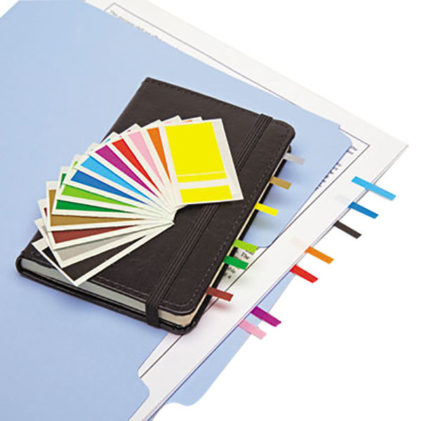 """Redi-Tag 20205 4 Assorted Color 1"""" x 3/16"""" Removable Page Flag - 3600/Pack"""