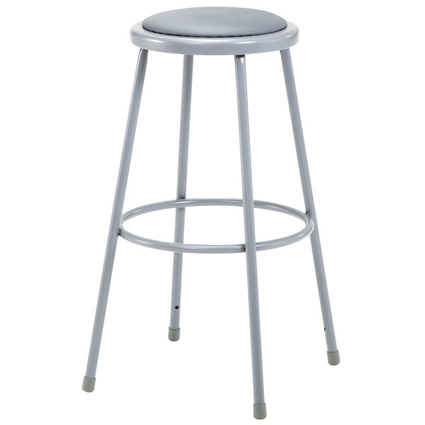 """National Public Seating 6430 30"""" Gray Round Padded Lab Stool"""