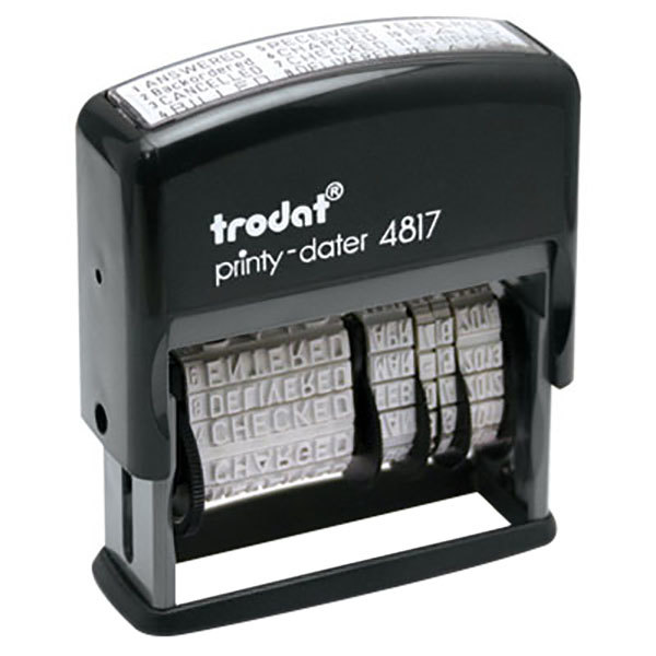 "Trodat USSE4817 Economy 2"" x 3/8"" Black Self-Inking 12-Message Date Stamp Main Image 1"