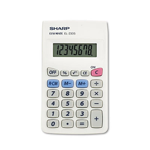 Sharp EL233SB 8-Digit LCD Battery Powered Pocket Calculator