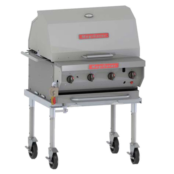 """MagiKitch'n NPG-30-SS 32"""" Natural Gas Portable Stainless Steel Outdoor Grill - 80,000 BTU"""