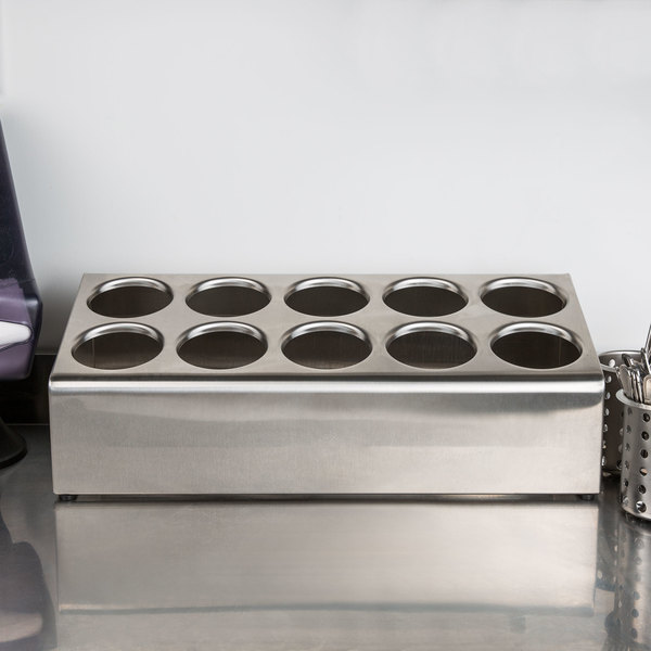 Steril-Sil TC-10S Ten Hole Stainless Steel Flatware Cylinder Holder