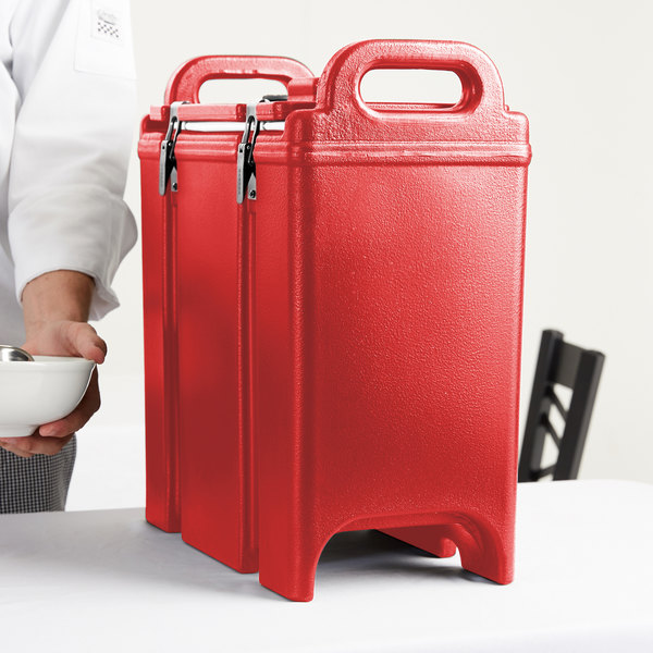 Cambro 350LCD158 Camtainer 3.375 Gallon Hot Red Insulated Soup Carrier Main Image 8