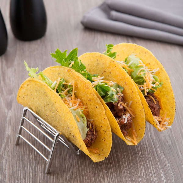 """Clipper Mill by GET 4-81858 Specialty Servingware 6"""" x 2 1/2"""" Stainless Steel Taco Holder with 3 or 4 Compartments"""