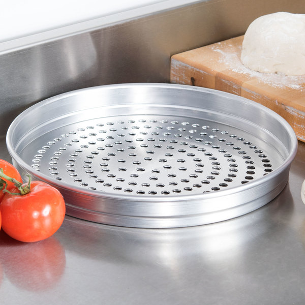 "American Metalcraft SPHA5112 5100 Series 12"" Super Perforated Heavy Weight Aluminum Straight Sided Self-Stacking Pizza Pan"