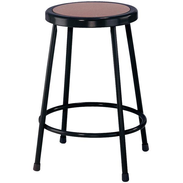 "National Public Seating 6224-10 Black 24"" Hardboard Round Lab Stool"