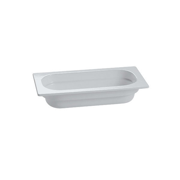 "Tablecraft CW340GY 12 3/4"" x 6 7/8"" x 2 1/2"" Gray 1/3 Size Cast Aluminum Food Pan"