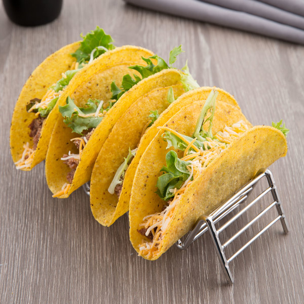 """Clipper Mill by GET 4-81859 Specialty Servingware 7 3/4"""" x 2 1/2"""" Stainless Steel Taco Holder with 4 or 5 Compartments"""