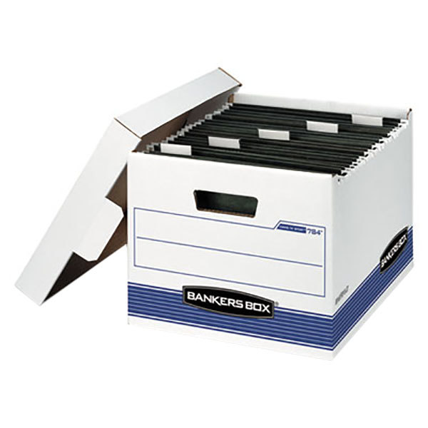 """Fellowes 00784 Banker's Box HANG'N'STOR 12 5/8"""" x 15 5/8"""" x 10"""" White Letter Sized File Storage Box with Lift-Off Lid - 4/Case Main Image 1"""