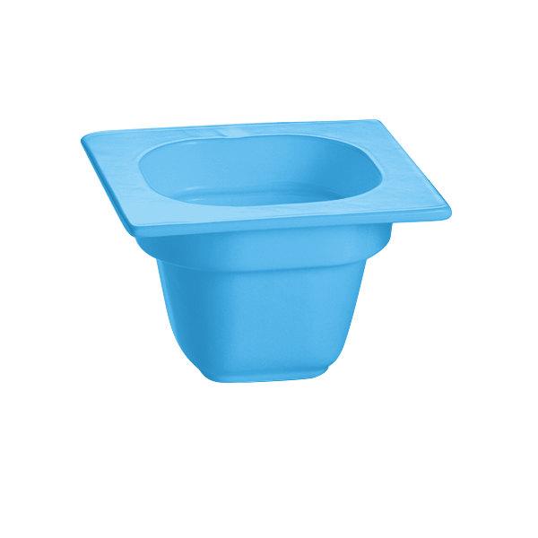 "Tablecraft CW360SBL 6 1/8"" x 6 3/8"" x 4"" Sky Blue 1/6 Size Deep Cast Aluminum Food Pan"