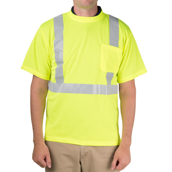 Lime Class 2 Mesh Short Sleeve High Visibility Safety Shirt with Reflective Tape - L