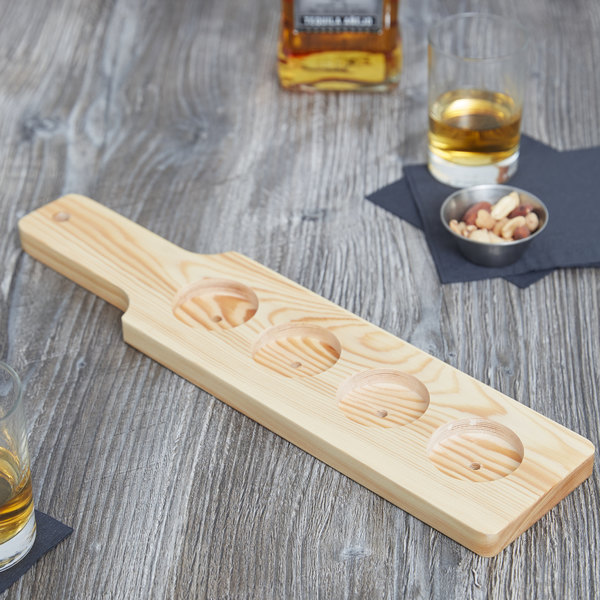 "Core 14 1/2"" x 3 1/2"" Four-Hole Natural Finish Wood Beer Flight Sampler Paddle - 12/Pack"