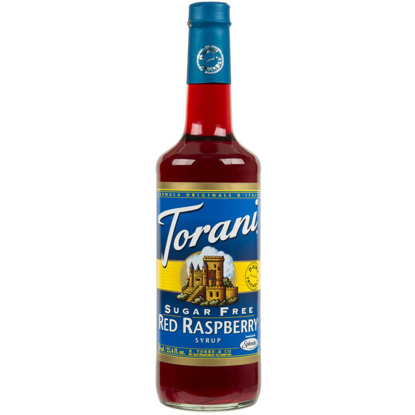 Torani 750 mL Sugar Free Red Raspberry Flavoring Syrup Main Image 1