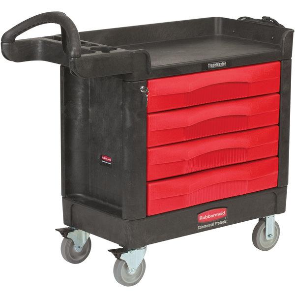 "Rubbermaid FG451388BLA TradeMaster 40 9/16"" x 18 3/8"" Black Cart with 4 Drawers"