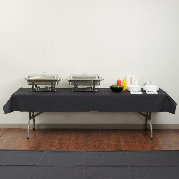 "Hoffmaster 220836 50"" x 108"" Linen-Like Black Table Cover - 20/Case"