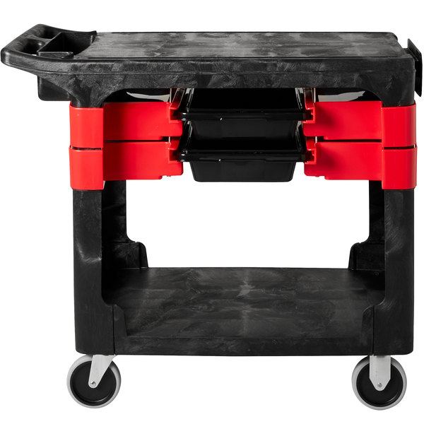 """Rubbermaid FG618000BLA 38"""" x 19 3/16"""" Black Trades Cart with 2 Parts Boxes and 4 Parts Bins"""