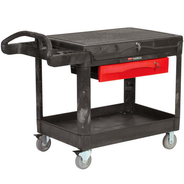 "Rubbermaid FG453588BLA TradeMaster 52 1/2"" x 38 9/16"" Black Contractor Cart"
