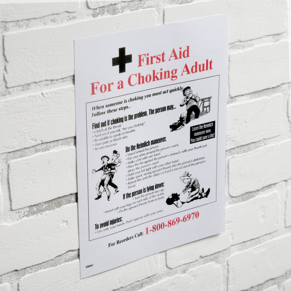 8 12 X 11 First Aid Choking Adult Poster With Heimlich Instructions