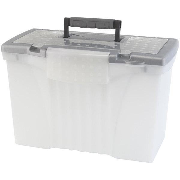 Storex 61511U01C Clear Plastic Portable Letter Legal File Storage