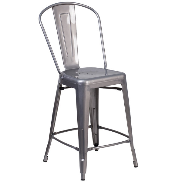 Flash Furniture XU DG TP001B 24 GG Clear Coated Metal Counter Height Stool  With Vertical Slat ...