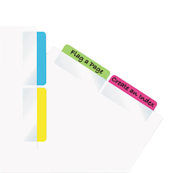 """Redi-Tag 33248 Write-On 4 Assorted Color 2"""" x 11/16"""" Self-Stick Index Tab - 48/Pack"""