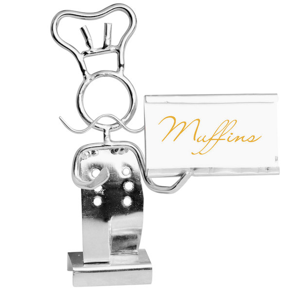 """Clipper Mill by GET SGN-03 4"""" Chrome Plated Iron Chef Card Holder"""
