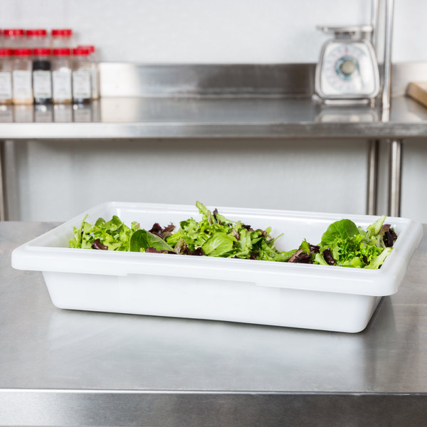 "Choice 12"" x 18"" x 3 1/2"" White Plastic Food Storage Box"