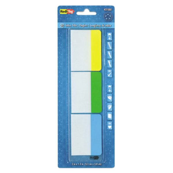 "Redi-Tag 31080 Write-On 3 Assorted Color 2"" x 1 1/2"" Self-Stick Index Tab - 30/Pack Main Image 1"