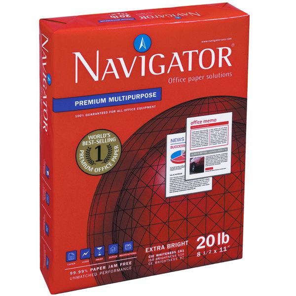 "Navigator NMP113HP 8 1/2"" x 11"" White Case of 20# 3-Hole Punch Premium Multipurpose Paper - 5000 Sheets Main Image 1"
