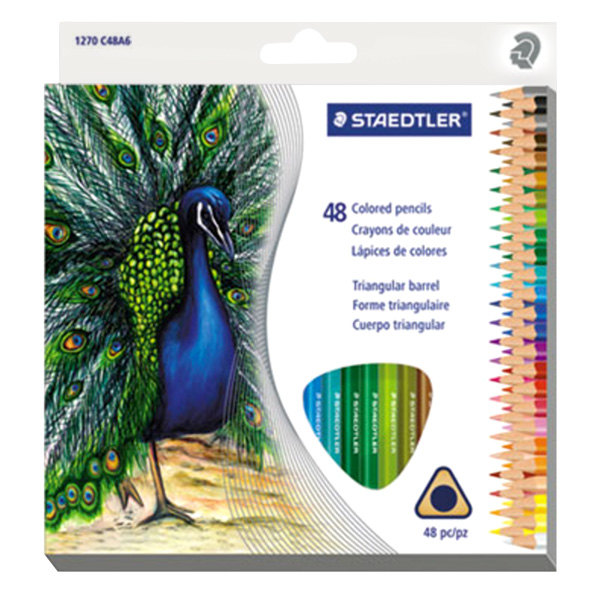 Staedtler 1270C48A6 48-Color Assorted H Lead #3 Triangular Colored Pencil Set