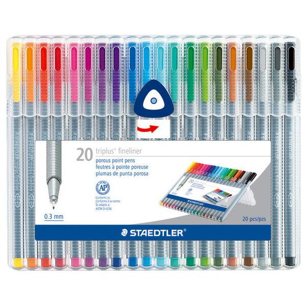 Staedtler 334SB20A6 Triplus Fineliner 20-Color Assorted Super Fine Water-Based Marker