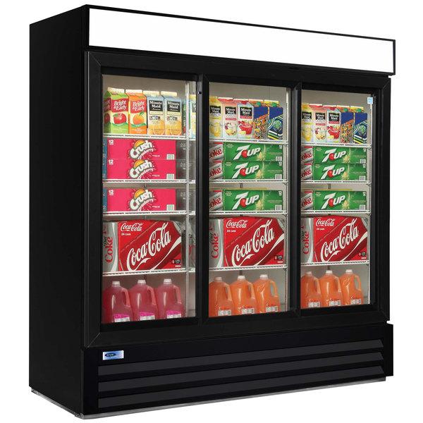 "Nor-Lake NLGRP74-SL-B AdvantEDGE 78"" Black Sliding Glass Door Refrigerated Merchandiser with LED Lighting - 70.2 Cu. Ft. Main Image 1"
