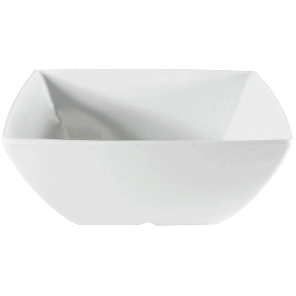 Thunder Group 69009WT Classic White 90 oz. Square Melamine Bowl - 12/Pack