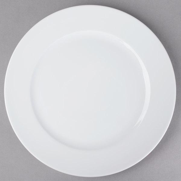 "Schonwald 9130031 Fine Dining 12 3/8"" Round Continental White Wide Rim Porcelain Plate - 6/Case"