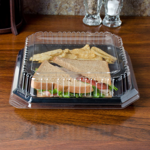 "Genpak SQ99 9"" Clear Square Dome Plate Lid - 200/Case"