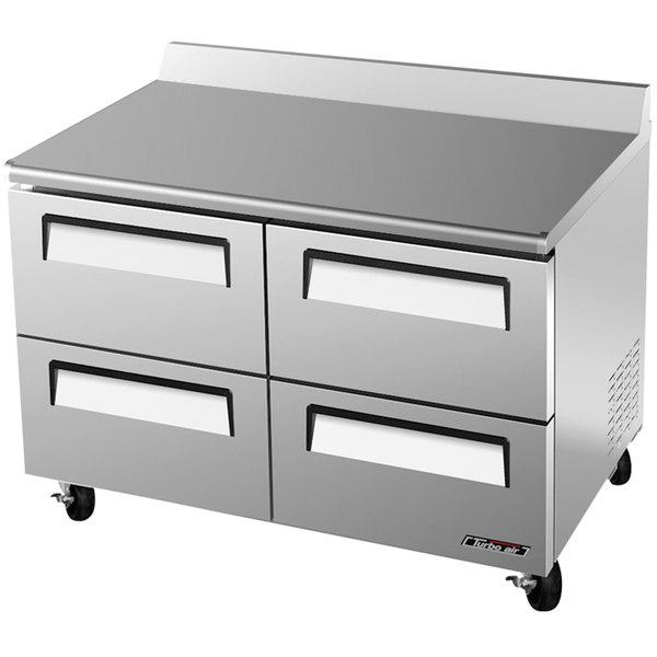 """Turbo Air TWF-48SD-D4 48"""" Super Deluxe Four Drawer Worktop Freezer - 12 cu. ft."""