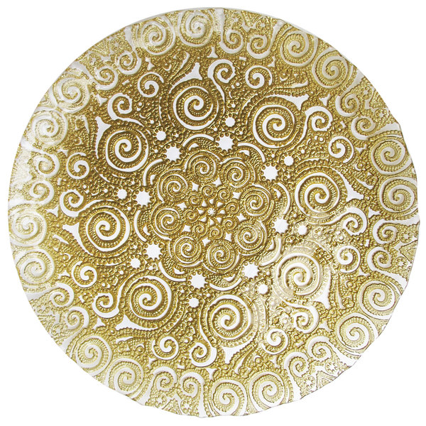 """The Jay Companies 1470443 13"""" Gold Bombay Glass Charger Plate"""