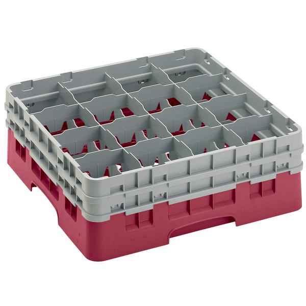 "Cambro 16S534416 Camrack 6 1/8"" High Customizable Cranberry 16 Compartment Glass Rack"