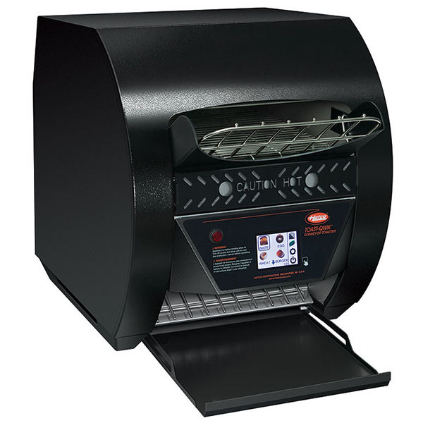 "Hatco TQ3-500 Toast-Qwik Black Conveyor Toaster with 2"" Opening and Digital Controls - 208V, 2220W"