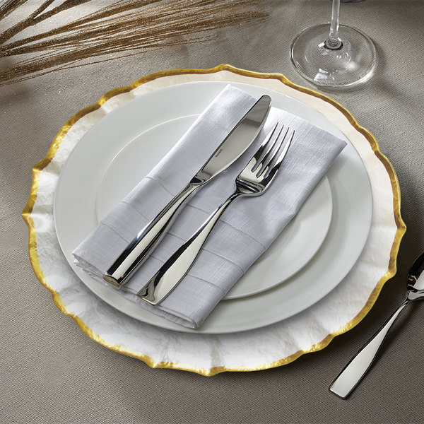 """The Jay Companies 1470438 13"""" Pearl Ice Queen Glass Charger Plate with Gold Trim"""