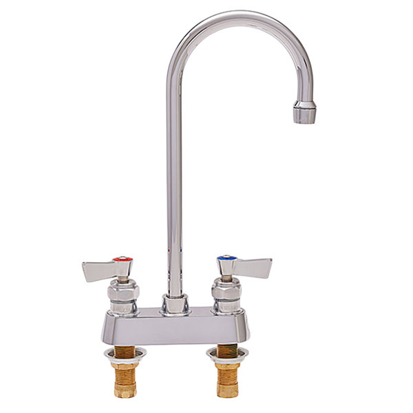"Fisher 85405 Deck Mounted Faucet with 4"" Centers, 10"" Rigid Gooseneck Nozzle, 2.2 GPM Aerator, and Lever Handles"