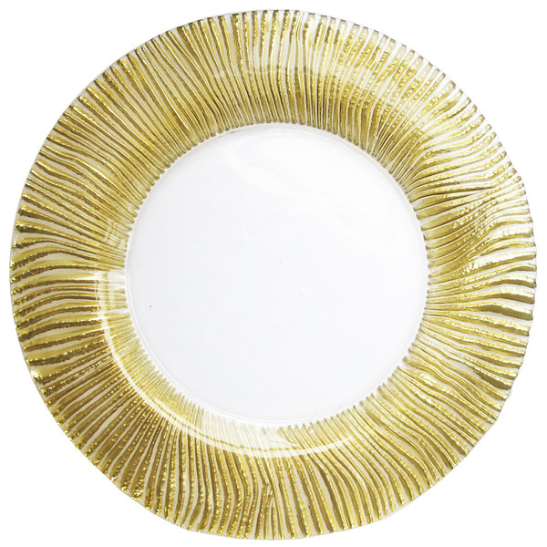 """The Jay Companies 1470444 13"""" Gold Nilo Glass Charger Plate"""