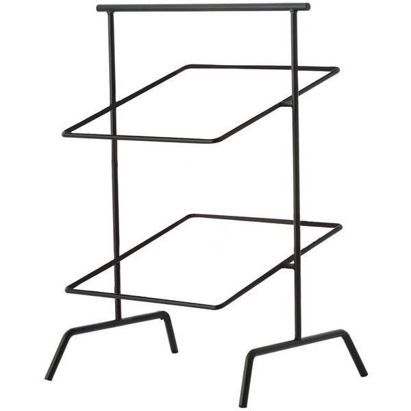 """Clipper Mill by GET IR-703B POP 12"""" Black Powder Coated Iron Square 2-Tier Basket Stand"""