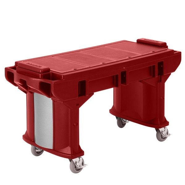 Cambro VBRTL5158 Hot Red 5' Versa Work Table with Standard Casters - Low Height
