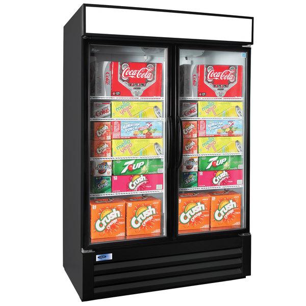 "Nor-Lake NLGRP48-HG-B AdvantEDGE 52"" Black Swing Glass Door Refrigerated Merchandiser with LED Lighting - 45.7 Cu. Ft. Main Image 1"