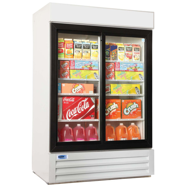 "Nor-Lake NLGRP48-SL-W AdvantEDGE 52"" White Sliding Glass Door Refrigerated Merchandiser with LED Lighting - 45.7 Cu. Ft."