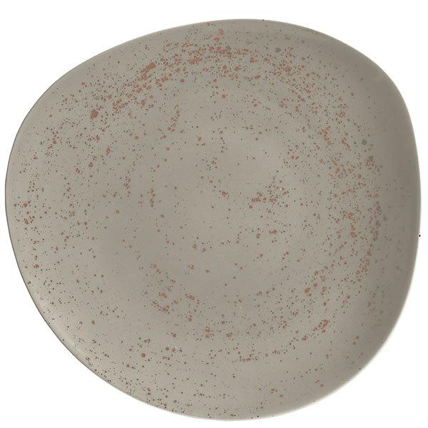 """Schonwald 938123163043 Pottery 12 3/8"""" Unique Light Gray Organic Porcelain Plate - 6/Case"""